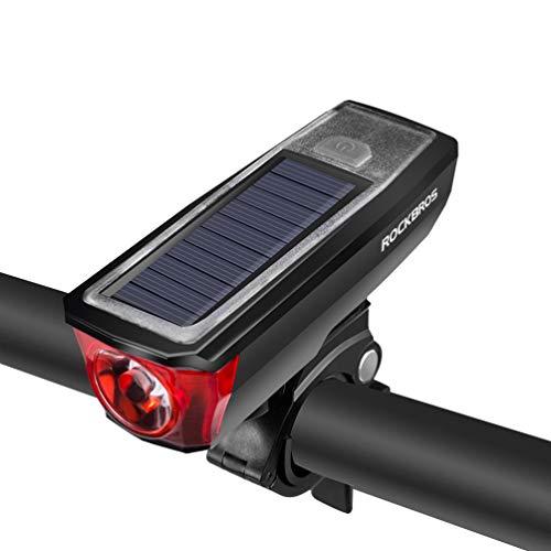 ROCKBROS(ロックブロス)自転車ライトソーラー&usb充電式ヘッドライトled防水軽量懐中電灯ホーンが付きロードバイククロスバイク(レッド)