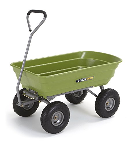 Gorilla Carts Poly Garden Dump Cart with Steel Frame and 10' Pneumatic Tires, 600-lbs. Capacity, Green