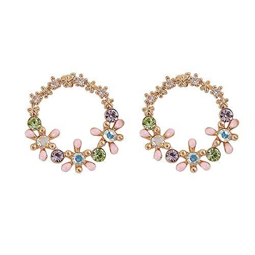 Pendientes De Moda para Mujer,Aretes De Plata Esterlina 925 Feminidad Flor Zircon Tassel Earrings Simple Super Salvaje Cuento De Boda Joyas