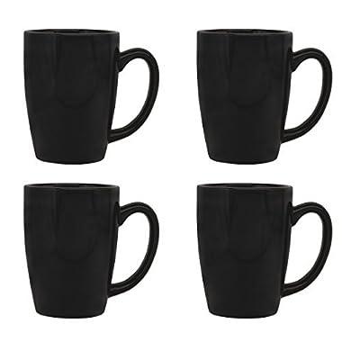Culver Taza Ceramic Mug 16-Ounce Set of 4 (Black)