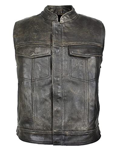 Chaleco de piel para hombre, estilo motero, para motociclista, rockero, club, traje de cuero, talla XL, color marrón cracker