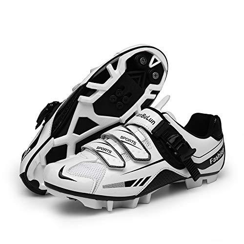 JINFAN Zapatillas de Ciclismo MTB para Hombre - Zapatillas de Ciclismo de Montaña con Candados,Calzado Deportivo de Invierno para Hombre y Mujer/Suelas-Nailon,White-8UK=(260mm)=42EU