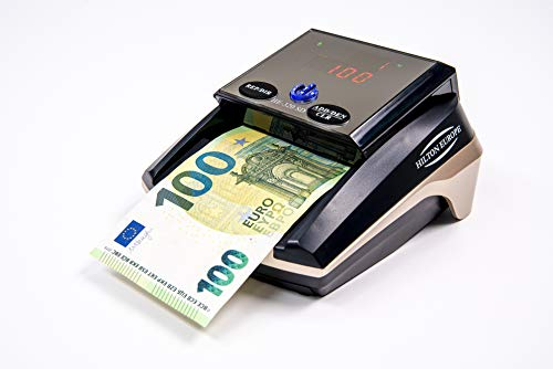 HILTON EUROPEO | HE-320B SD Detector Billetes Falsos portátil | 8 SISTEMAS DE DETECCIÓN 100% TESTADO Banco Central Europeo | Actualizado a todos los billetes del sistema EURO (Sin Batería)