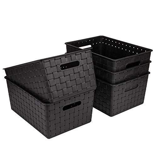 Bekith 5 Pack Woven Plastic Storage Basket, Woven Basket Bin, 10  L x 7  W x 4.4  H, Black