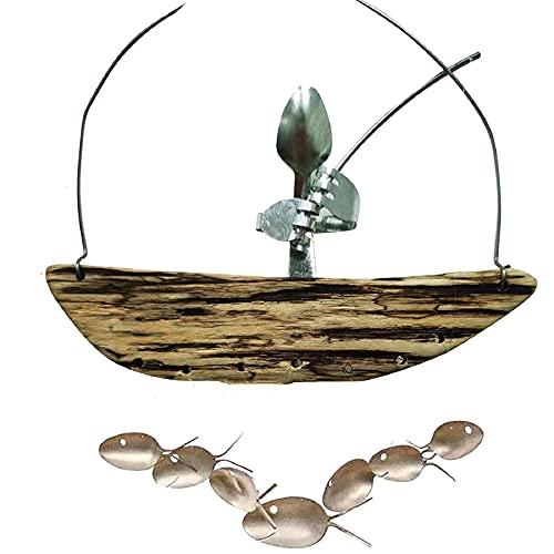dongwenchao1104 Cubiertos Hombre Cuchara De Pesca Esculturas De Peces CarillóN De Viento Colgante, Campana De Viento De Pescador Barco De Madera, Hilanderos De Viento, A