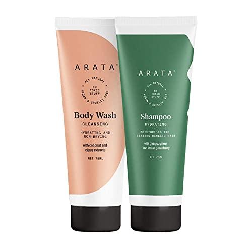 Glamorous Hub Arata Combo de hidratación de ducha natural para mujeres y hombres con champú hidratante (75 Ml) y gel de baño (75 Ml) y baño totalmente natural, vegano y sin crueldad a base de plantas