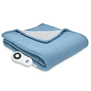 Serta Heated Electric Microfleece and Sherpa Throw - with 5 setting controller, 50 x 60, Slate Blue Model 0917