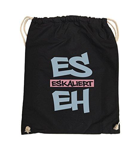 Comedy Bags - Es eskaliert eh - Graffiti - Turnbeutel - 37x46cm - Farbe: Schwarz/Eisblau-Rosa