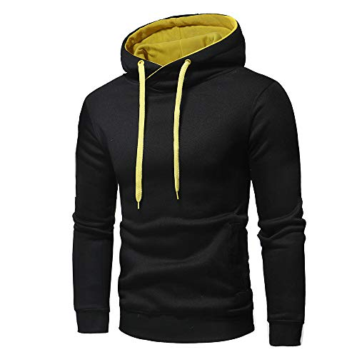 Chunmei Men Hooded Sweatshirt Long Sleeve Thick Warm Hooded Tops Pullover Hoodie top Blouse Casual Solid Color Sweatshirt with Drawstring Pocket Autumn Winter New Sport Men Tops XL