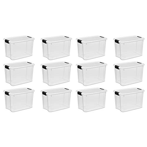 Sterilite 30 Quart Ultra Clear Plastic Stackable Storage Tote Container with Latching Lid (12 Pack)