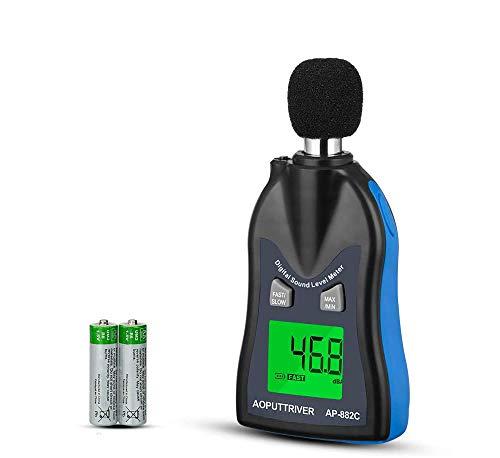 Decibelímetros AP-882C Medidor de Sonido Digital 30dBc~130dBc Sonómetro Medidor de Volumen de Ruido con Ponderación de Tiempo RÁPIDO/LENTO+Apagado Auto+Luz de Fondo+Retención de Dato(Batería Incluida)