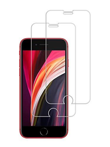 TECHKUN Pellicola protettiva in vetro temperato per iPhone SE 2020 [2 pezzi], iPhone 8, iPhone 7, iPhone SE 2020 4,7 pollici Trasparente