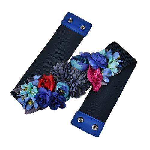 Kunfang Dulce Elegante Mujeres Flor Rosa Cinturón Elástico Cadena de Cintura Hebilla de la Boda Cintura Boho Floral Cinturón Accesorios