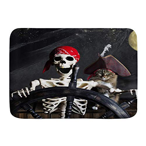 XWJZXS Alfombra de baño Antideslizante para , Gato Divertido Barco Pirata Horror Gato Noche Luna Náutica, Alfombra de baño Absorbente Alfombra Felpudo Alfombra de Entrada de Cocina Gruesa y Duradera