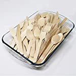 Beenax Disposable Wooden Cutlery Set - Eco Friendly Forks Knives Spoons - 100% Biodegradable Tableware Plastic-Free & Food Safe - Perfect for Parties, Home Use, BBQ, Camping 4