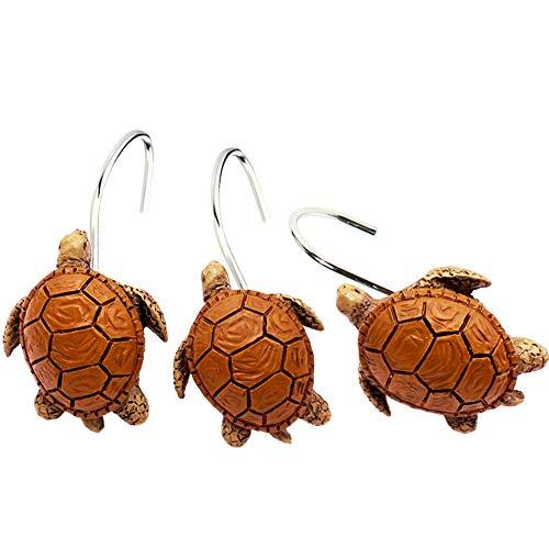 Chictie 12 Pieces Cute Turtle Shower Curtain Hooks Rings Set for Bathroom Rust Proof Chrome Cartoon Decorative Hangers