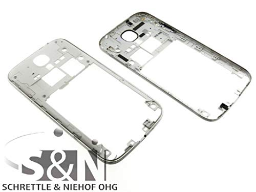 NG-Mobile Mittelgehäuse Gehäuse Cover Rahmen inkl. Antennen Kamerslinse Linse für Samsung Galaxy S4 VE GT-i9515 silber