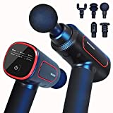 Massage Gun Deep Tissue Muscle Massager Device with 6 Speed Power Handheld Percussion to Relieve Pain,Neck Back Professional Heads Massager with Portable Bag