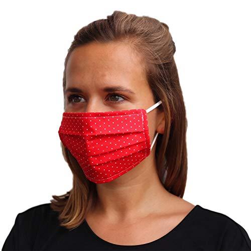 LIEVD® Mundschutz Maske 100% Baumwolle Made in Germany | OEKO-TEX 100 | Gesichtsmaske waschbar | Mund und Nasenschutz wiederverwendbar | Behelfsmaske 2-lagig (Größe L – Rot Pünktchen)