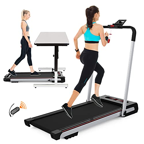 2 in 1 Under Desk Treadmill,2.25HP Folding Electric Treadmill Running Walking Jogging Machine for Home Office with Remote Control & LED Display,Installation-Free