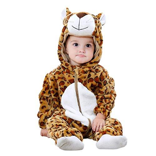 (12-18 mesi) Costume in Morbido Peluche - Pile - Tuta - Tutina Da Leopardo - Travestimento Carnevale - Halloween - Bambina -Bambino Neonato - 1-2 - anni - Unisex -Cosplay