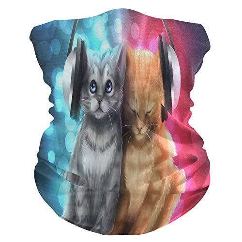 Musikliebhaber Katzen Gesicht Gesichtsschal Uv Sonne Gesichtsschal Staub Wind Hals Hals Gamasche Magic Bandana für Frauen Männer Big Kids