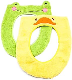 WSSROGY 2 Pack Cute Cartoon Animal Toilet Seat Cover Pads Bathroom Toilet Seat Closestool Washable Soft Warmer Mat,Duck and Frog