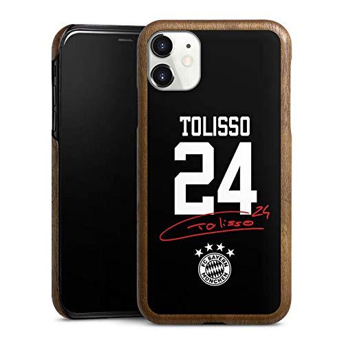 DeinDesign Holz Hülle kompatibel mit Apple iPhone 11 Holz Schutzhülle Echtholz Handyhülle Tolisso #24 FC Bayern München Trikot
