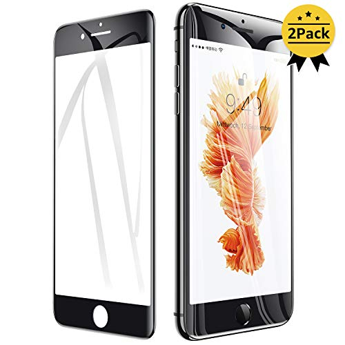 Humixx iPhone 8 Panzerglas(2 Stück), iPhone 7 Folie,3D Vollständigen Abdeckung,9H Härtegrad,Anti-Kratzen,Anti-Bläschen,Full Screen Gehärtetes Glas Display Schutzfolie für iPhone 7/8 - Schwarz