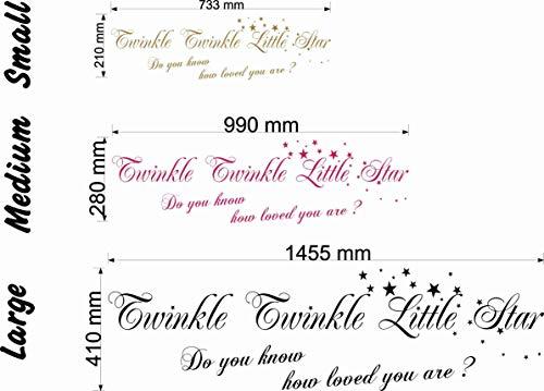 Wonderous Wall Art Twinkle Little Star Do You Know How Loved You are Citation Murale pour Chambre d'enfant Noir Taille L