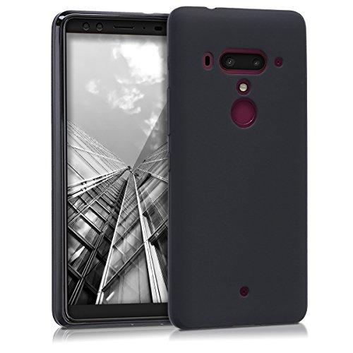 kwmobile Cover per HTC U12+/U12 Plus - Custodia in silicone TPU - Back case protezione posteriore per cellulare nero matt