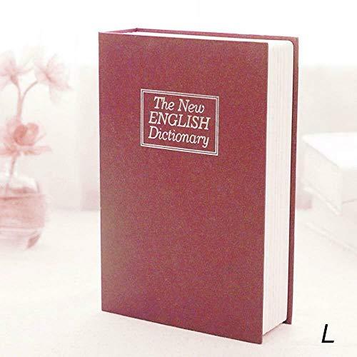 True Face Libro seguro diccionario secreto hogar caja de seguridad discreta valiosa metal 2 llaves rojo