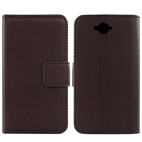 Gukas Design Echt Leder Tasche Für Doogee Homtom HT10 Hülle Handy Flip Brieftasche mit Kartenfächer Schutz Protektiv Genuine Premium Hülle Cover Etui Skin (Dark Braun)