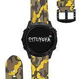 ESTUYOYA - Pulsera de Silicona Compatible con Garmin Fenix 6X / Fenix 6X Pro/Fenix 5X / Fenix 5X Plus/Fenix 3 / Fenix 3 HR Colores de Camuflaje del Ejercito, 26mm - Amarillo