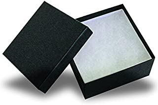 The Display Guys, Pack of 25 Black 3 3/4x3 3/4x2 inches Cotton Filled Paper Jewelry Box Gift Display Case (#34)