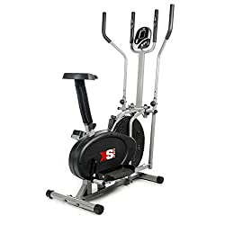 XS Sports Pro Fitness Elliptical Cross Trainer with Pulse Sensors - 2 in 1 - Can Be Used As A Cross Trainer or Exercise Bike Front Mounted Flywheel for Added Stability - Adjustable Resistance for High & Low Intensity Workouts - Multi Function LCD Dis...
