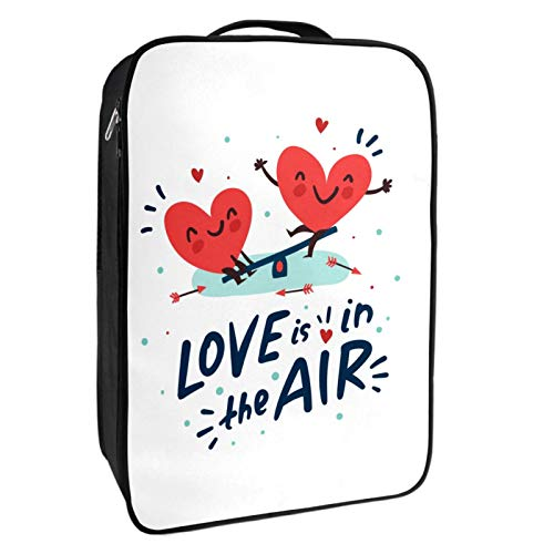 Caja de almacenamiento para zapatos de viaje y uso diario Love is in the Air Zapatero organizador portátil impermeable hasta 12 yardas con doble cremallera y 4 bolsillos