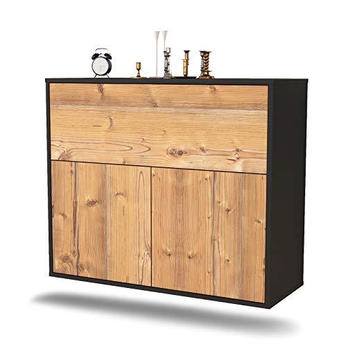 Dekati Sideboard Irving hängend (92x77x35cm) Korpus anthrazit matt | Front Holz-Design Pinie | Push-to-Open