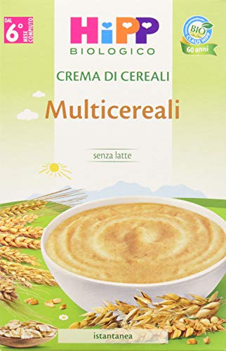 HiPP - Crema di Cereali Bio, Multicereali, 6 Confezioni da 200 g