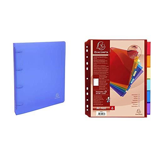 Exacompta 51369E Cartella ad Anelli, 32x26 cm, DOS 40 mm, colori assortiti, 1 pezzo & 4834E Divisori e Segnaletica, 30x23.5 cm, Multicolore
