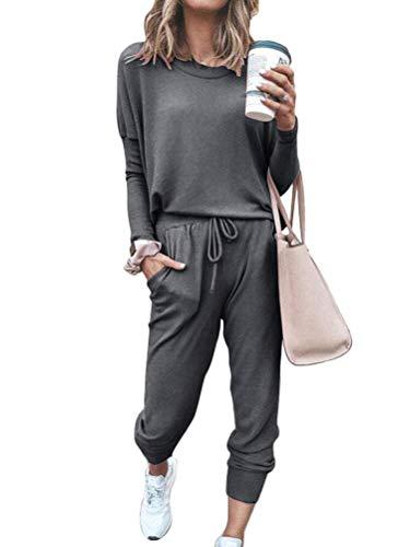 ORANDESIGNE Damen Trainingsanzug 2 Teiler Hausanzug Kuschelig Jogginganzug Sportliche Hose Mit Kordelzug Und Taschen Dunkelgrau 44