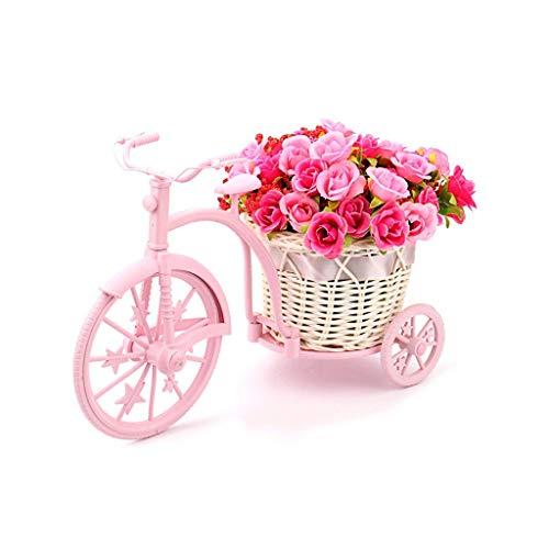 Gartenregal Mini Blumenständer Fahrrad Künstliche Blumen Dekor Garten Pflänzchen Stand Hochzeit Dekorationen Blumen Regale (Farbe : Rosa)