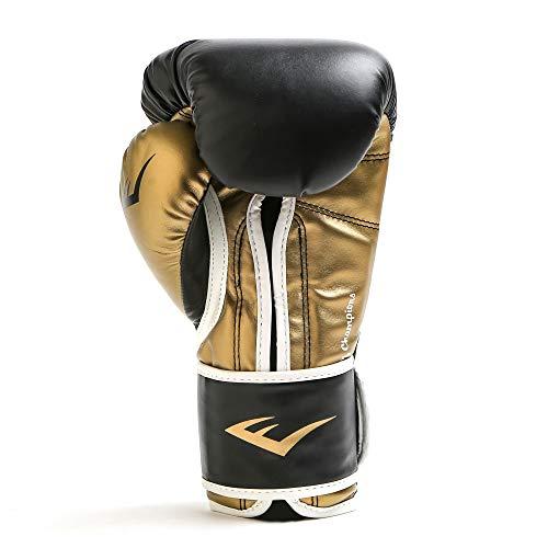 Everlast Men's Powerlock Hook/Loop Gloves, 14 oz, Black/Gold