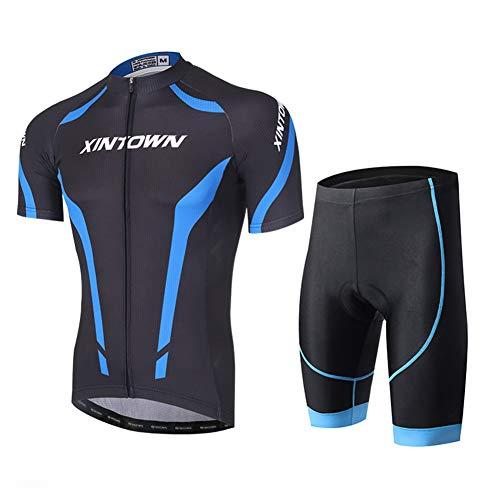 RMane Herren Radtrikot Atmungsaktive Fahrradbekleidung Set SchnelltrocknendTrikot Kurzarm Shirt + Radhose mit Sitzpolster für Radsport S -XXL (Blau schwarz, XL)