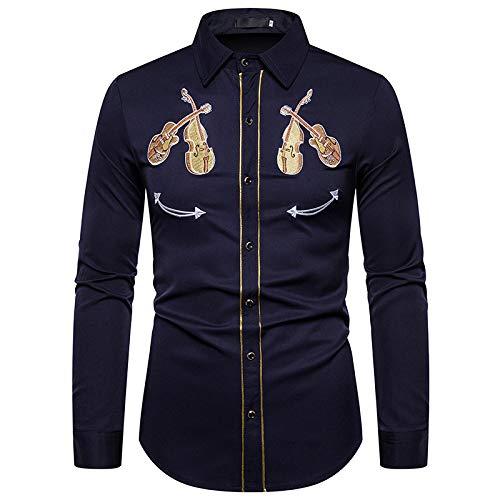 Loeay Camisa Blanca Bordada Western Cowboy Violin Pattern Vestido Social de Manga Larga Camisas para Hombre Casual Slim Fit Streetwear Navy L