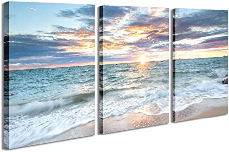 3 Panel Canvas Wall Painting Sunset Colorful Clouds Print Pictures Ocean Scenery Waves Beach product image