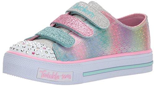 Skechers Mädchen Shuffles - Ms. Mermaid Sneaker, Mehrfarbig (Silver/Multicolour), 34 EU