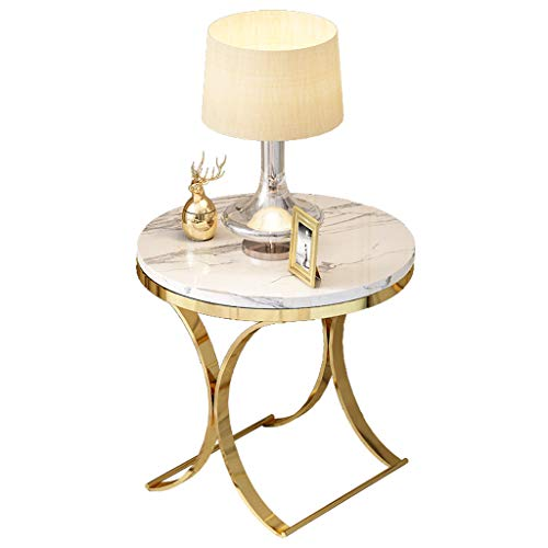 GYX-Coffee Tables Round Side Table 47x47x55.5cm Marble/Stainless Steel