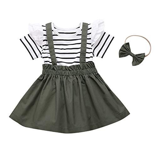 DaMohony - Completo da bambina formato da maglietta a maniche corte a righe con volant, gonna con bretelle e fascia per capelli, 3 pezzi Verde militare 130 cm(4-5 anni)