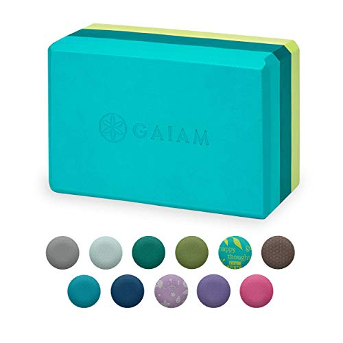 Gaiam Yoga Block  Supportive LatexFree EVA Foam Soft NonSlip Surface for Yoga Pilates Meditation TriColor Teal Tonal